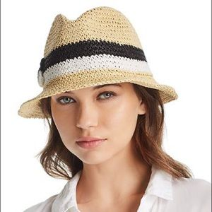 New Kate Spade Crochet Bicolor Bow Trilby Hat